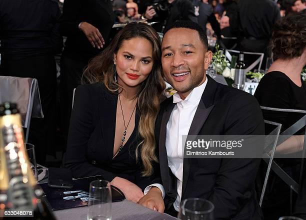 Model Chrissy Teigen and recording artist John Legend pose during The 23rd Annual Screen Actors Guild Awards at The Shrine Auditorium on January 29...