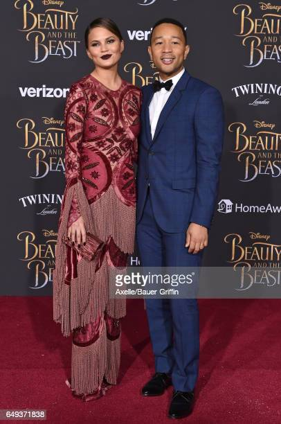 Model Chrissy Teigen and singer John Legend arrive at the Los Angeles Premiere of 'Beauty and the Beast' at El Capitan Theatre on March 2 2017 in Los...