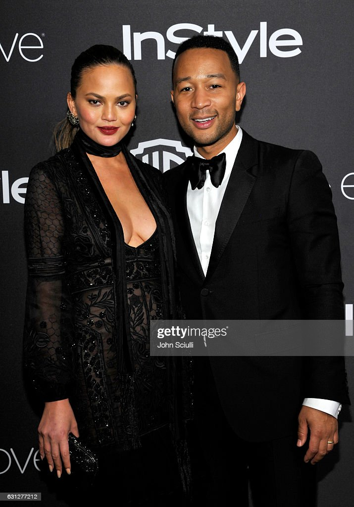 Model Chrissy Teigen (L) and singer John Legend attend The 2017 InStyle and Warner Bros. 73rd Annual Golden Globe Awards Post-Party at The Beverly Hilton Hotel on January 8, 2017 in Beverly Hills, California.
