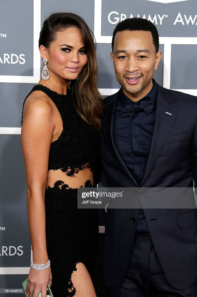 Model Chrissy Teigen and singer John Legend attend the 55th Annual GRAMMY Awards at STAPLES Center on February 10, 2013 in Los Angeles, California.