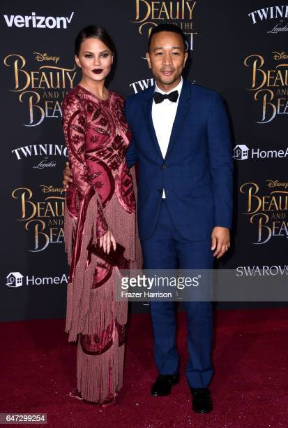 Model Chrissy Teigen and singer/sonngwriter John Legend attend Disney's 'Beauty and the Beast' premiere at El Capitan Theatre on March 2 2017 in Los...