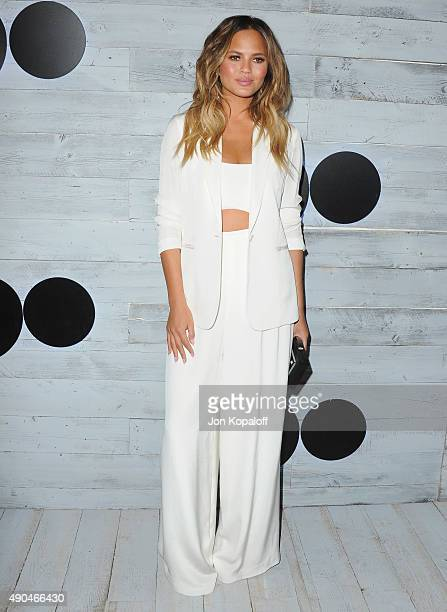 Model Chrissy Teigen arrives at go90 Sneak Peek at Wallis Annenberg Center for the Performing Arts on September 24 2015 in Beverly Hills California