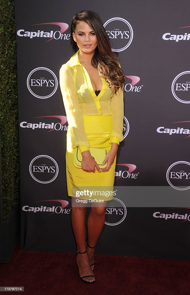 Model Chrissy Teigen arrives at the 2013 ESPY Awards at Nokia Theatre L.A. Live on July 17, 2013 in Los Angeles, California.