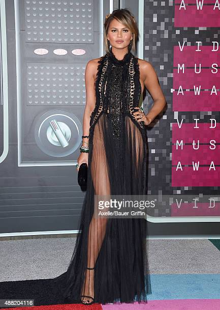 Model Chrissy Teigen arrives at the 2015 MTV Video Music Awards at Microsoft Theater on August 30 2015 in Los Angeles California