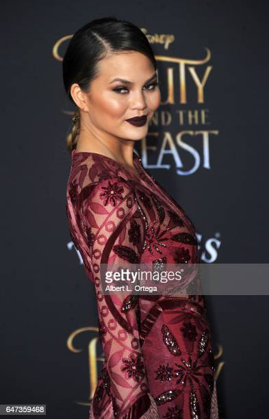Model Chrissy Teigen arrives for the Premiere Of Disney's 'Beauty And The Beast' held at El Capitan Theatre on March 2 2017 in Los Angeles California