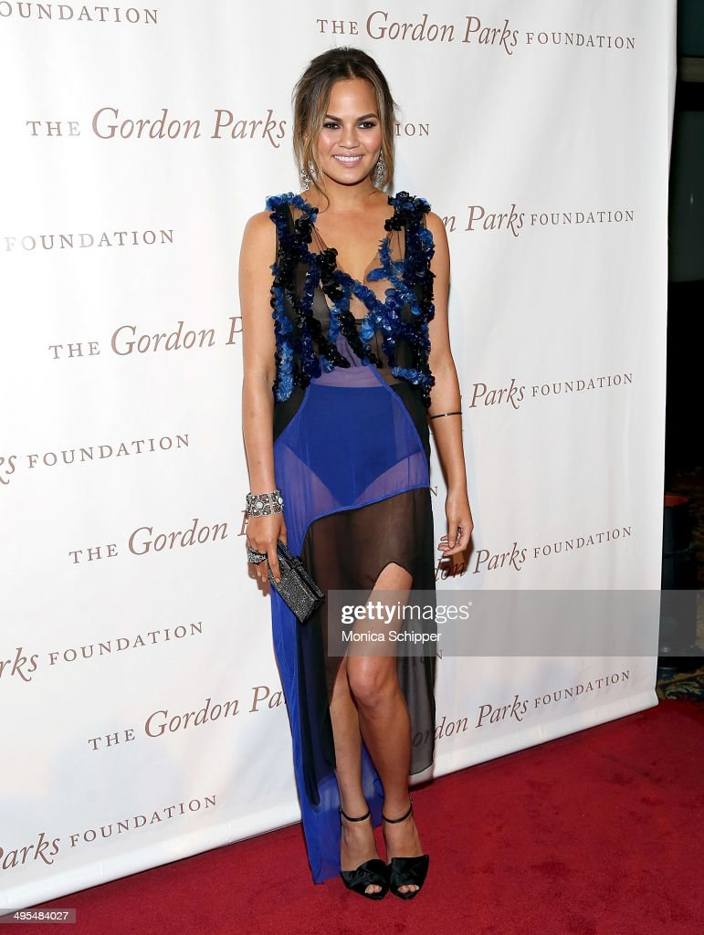 Model Chrissy Teigen attends 2014 Gordon Parks Foundation awards dinner at Cipriani Wall Street on June 3, 2014 in New York City.