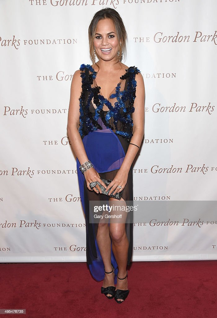 Model Chrissy Teigen attends the 2014 Gordan Parks Foundation Awards Dinner Auction at Cipriani Wall Street on June 3 2014 in New York City
