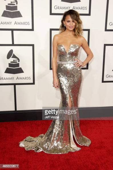 Model Chrissy Teigen attends the 56th GRAMMY Awards at Staples Center on January 26 2014 in Los Angeles California