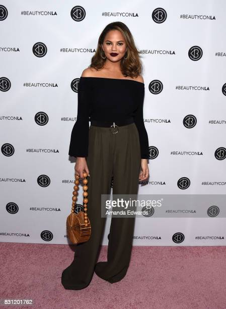 Model Chrissy Teigen attends the 5th Annual Beautycon Festival Los Angeles at the Los Angeles Convention Center on August 13 2017 in Los Angeles...