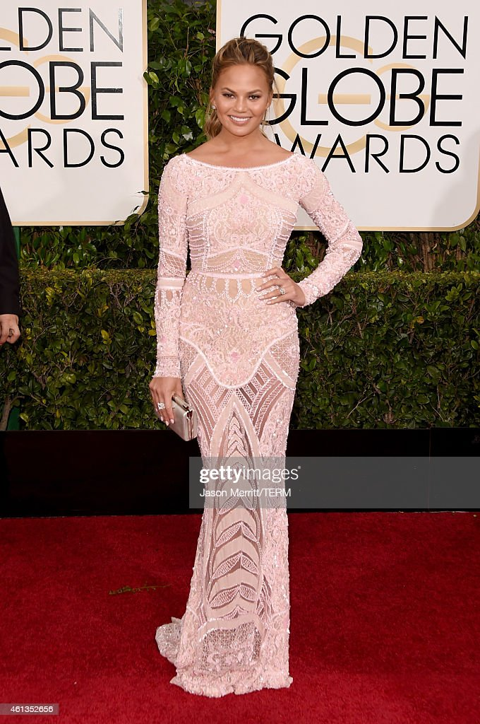 Model Chrissy Teigen attends the 72nd Annual Golden Globe Awards at The Beverly Hilton Hotel on January 11, 2015 in Beverly Hills, California.