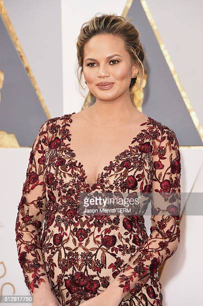 Model Chrissy Teigen attends the 88th Annual Academy Awards at Hollywood Highland Center on February 28 2016 in Hollywood California