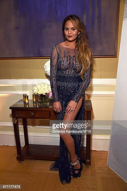 Model Chrissy Teigen attends the Bloomberg Vanity Fair cocktail reception following the 2015 WHCA Dinner at the residence of the French Ambassador on...