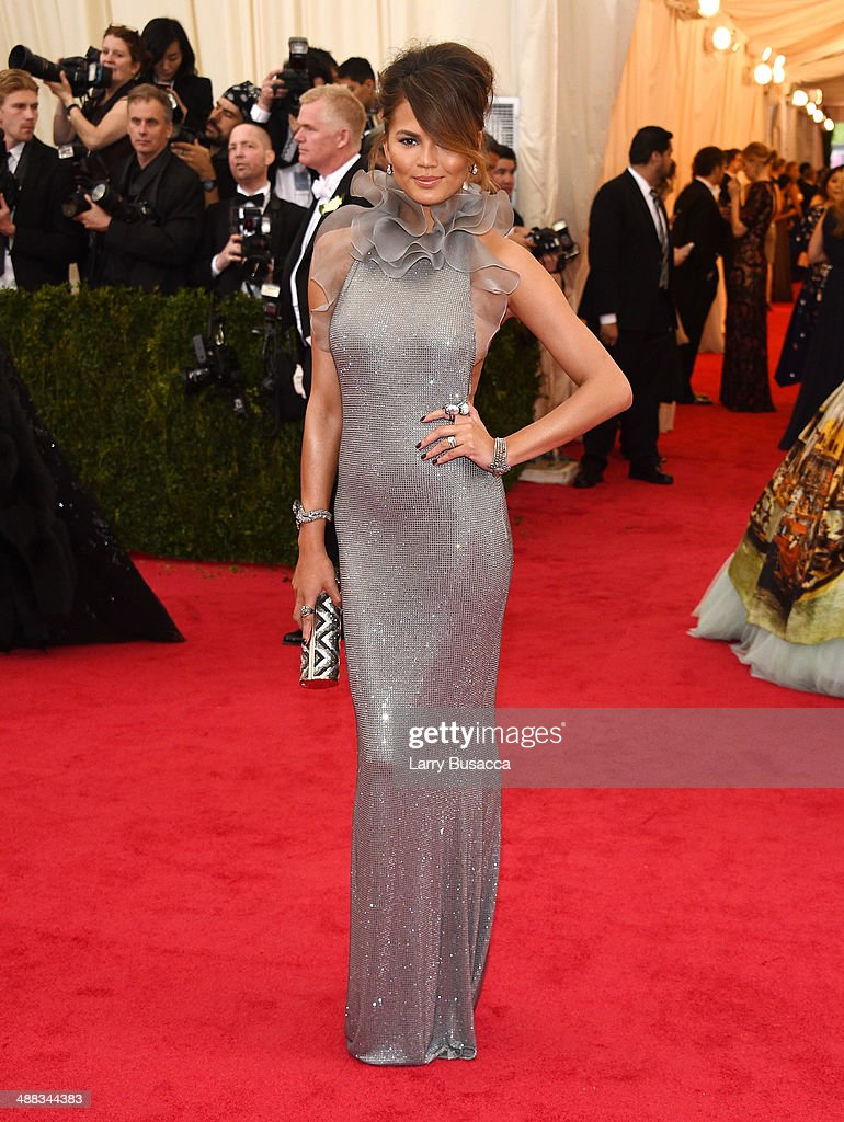 Model Chrissy Teigen attends the 'Charles James: Beyond Fashion' Costume Institute Gala at the Metropolitan Museum of Art on May 5, 2014 in New York City.