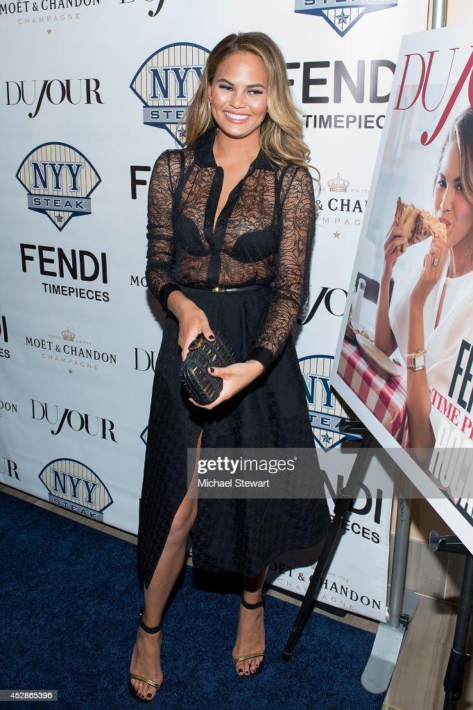 Model Chrissy Teigen attends the DuJour celebration of cover star Chrissy Teigen at NYY Steak Manhattan on July 28, 2014 in New York City.