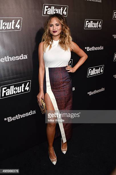 Model Chrissy Teigen attends the Fallout 4 video game launch event in downtown Los Angeles on November 5 2015 in Los Angeles California