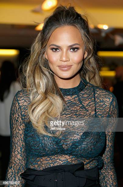 Model Chrissy Teigen attends The Hollywood Reporter's Beauty Dinner at The London West Hollywood on November 11 2015 in West Hollywood California