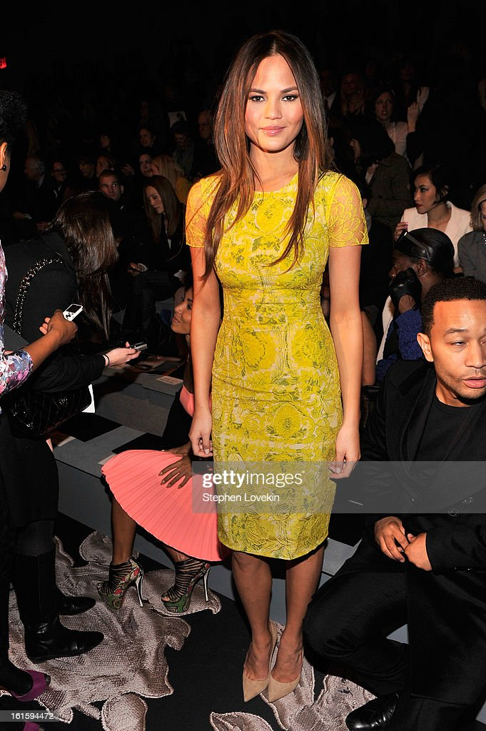 Model Chrissy Teigen attends the Vera Wang Fall 2013 fashion show during Mercedes-Benz Fashion Week at The Stage at Lincoln Center on February 12, 2013 in New York City.