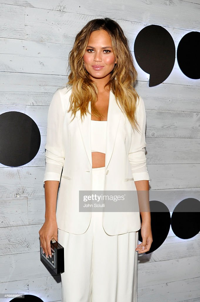 Model Chrissy Teigen attends the VIP sneak peek of the go90 Social Entertainment Platform at the Wallis Annenberg Center for the Performing Arts on September 24, 2015 in Los Angeles, California.