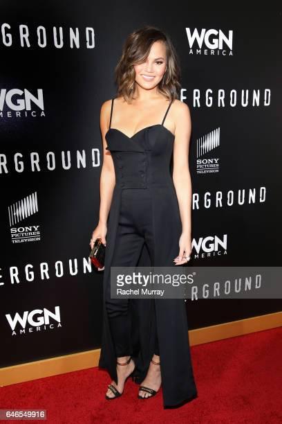 Model Chrissy Teigen attends WGN America's 'Underground' Season Two Premiere Screening at Regency Village Theatre on March 1 2017 in Westwood...