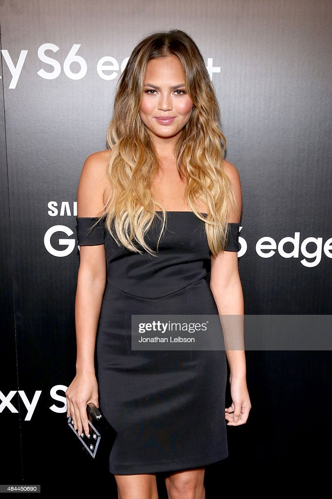 Model Chrissy Teigen celebrates the new Samsung Galaxy S6 edge+ and Galaxy Note5 at Launch Event on August 18, 2015 in Los Angeles, California.