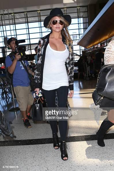 Model Chrissy Teigen is seen on July 2 2015 in Los Angeles California