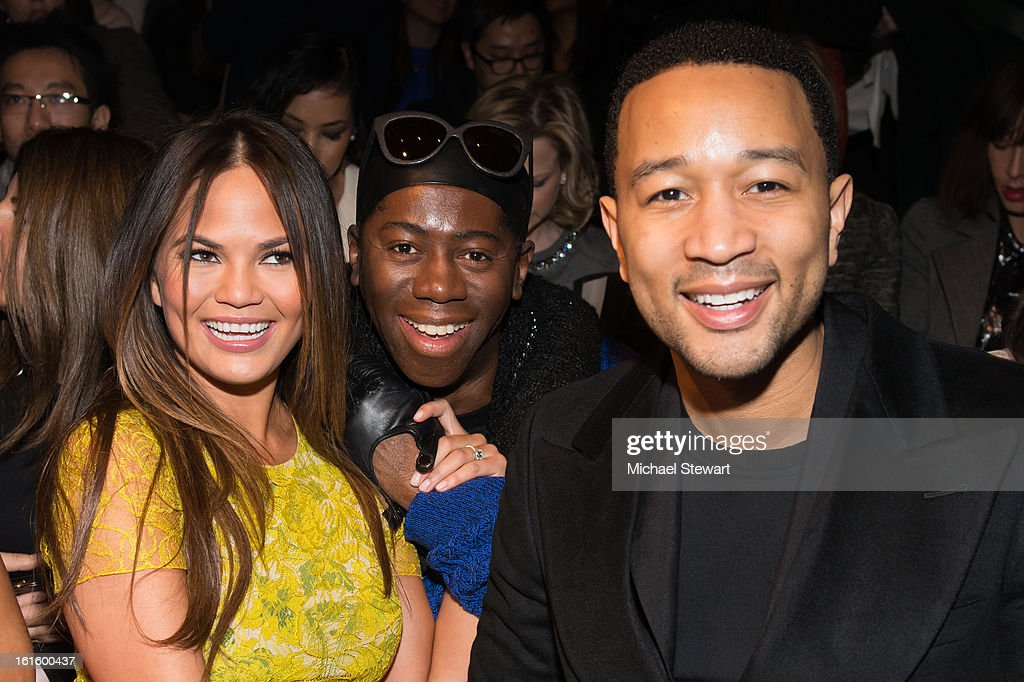 Model Chrissy Teigen, <a gi-track='captionPersonalityLinkClicked' href=/galleries/search?phrase=J.+Alexander&family=editorial&specificpeople=698504 ng-click='$event.stopPropagation()'>J. Alexander</a> and musician <a gi-track='captionPersonalityLinkClicked' href=/galleries/search?phrase=John+Legend&family=editorial&specificpeople=201468 ng-click='$event.stopPropagation()'>John Legend</a> attend Vera Wang during fall 2013 Mercedes-Benz Fashion Week at The Stage at Lincoln Center on February 12, 2013 in New York City.