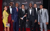 Model Chrissy Teigen NBA players LeBron James and Ray Allen Miami Heat head coach Erik Spoelstra with the Best Game award NBA player Dwyane Wade...