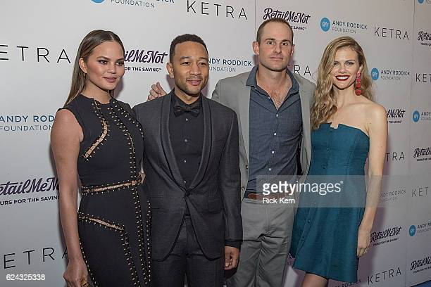 Model Chrissy Teigen singersongwriter John Legend retired professional tennis player Andy Roddick and model Brooklyn Decker attend the 11th Annual...