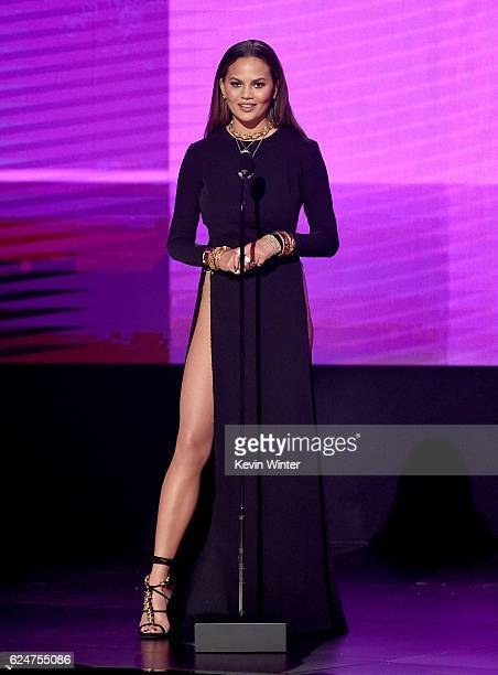 Model Chrissy Teigen speaks onstage during the 2016 American Music Awards at Microsoft Theater on November 20 2016 in Los Angeles California
