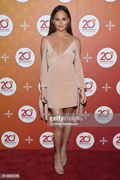 Model Chrissy Teigen walks the red carpet before the Ballroom After Party with Chrissy Teigen and LL Cool J for Mohegan Sun's 20th Anniversary at...