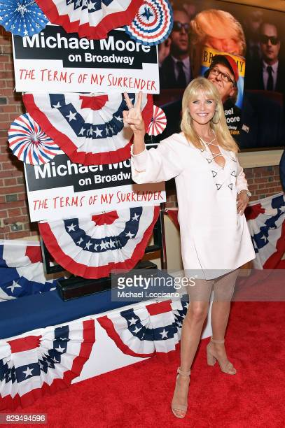 Model Christie Brinkley attends as awardwinning filmmaker Michael Moore celebrates his Broadway Opening Night in 'The Terms of My Surrender' at...