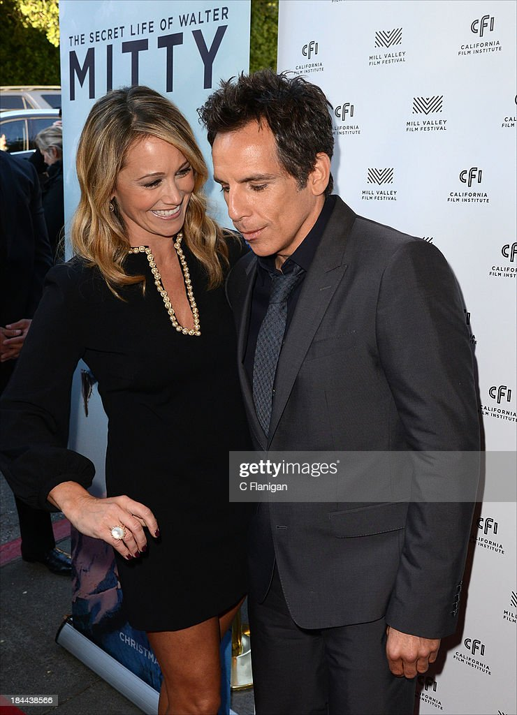 Model Christine Taylor and Actor Ben Stiller arrive during the 36th Annual Mill Valley Film Festival at CineArts Sequoia Theatre on October 13, 2013 in Mill Valley, California.