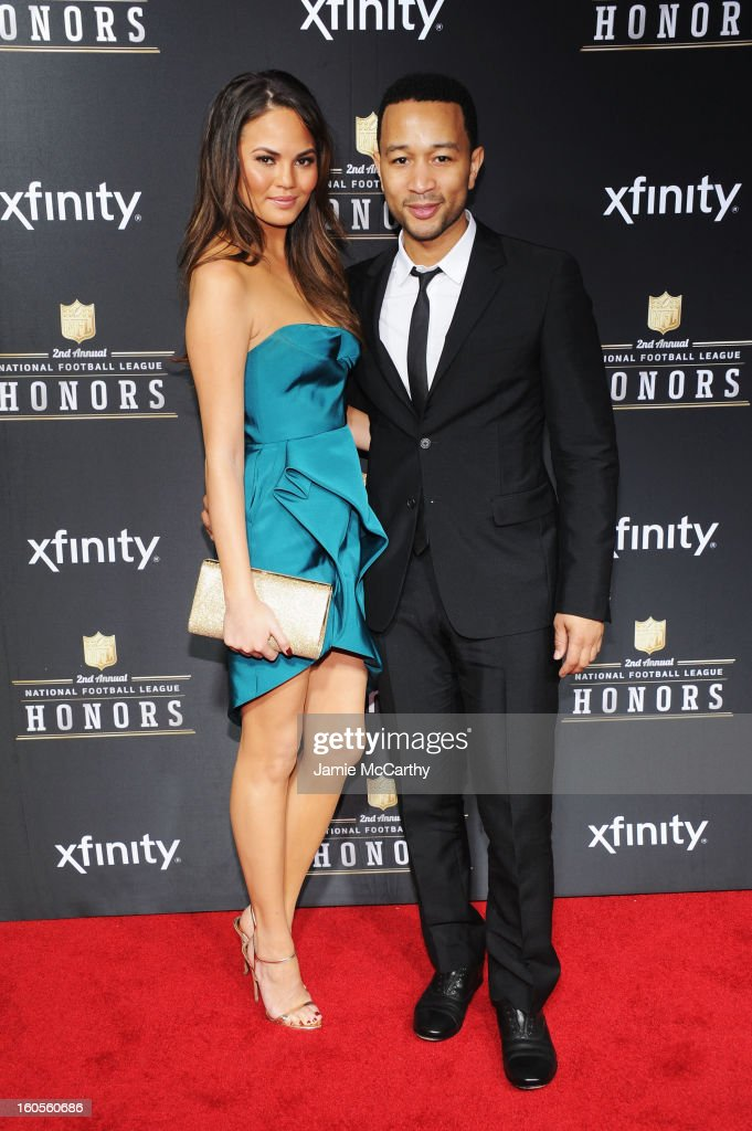 Model Christine Teigen (L) and singer John Legend attend the 2nd Annual NFL Honors at Mahalia Jackson Theater on February 2, 2013 in New Orleans, Louisiana.