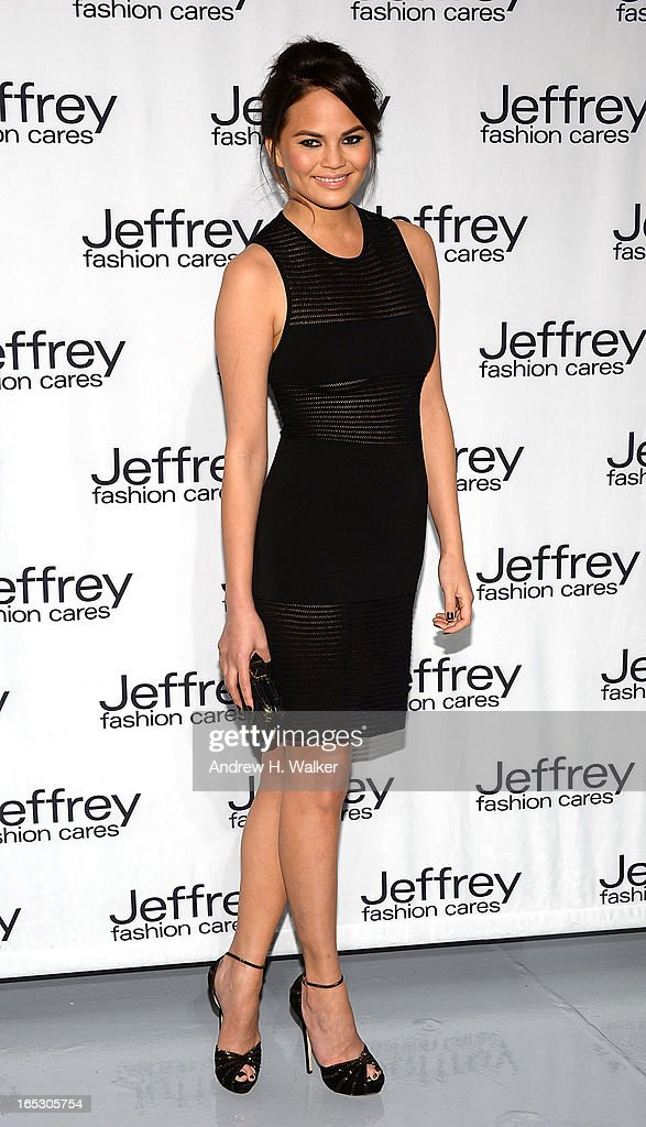 Model Christine Teigen attends the Jeffrey Fashion Cares 10th Anniversary Celebration at The Intrepid on April 2, 2013 in New York City.
