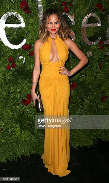 Model Christine Teigen attends the Nielsen Host PreGrammy Celebration at Herringbone Mondrian LA on January 25 2014 in Beverly Hills California