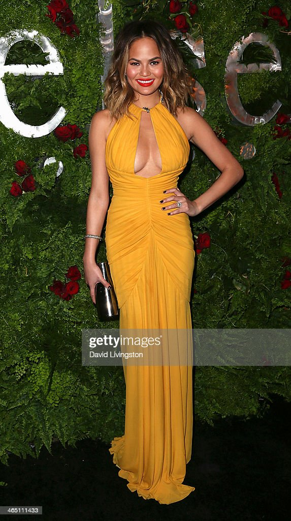 Model <a gi-track='captionPersonalityLinkClicked' href=/galleries/search?phrase=Christine+Teigen&family=editorial&specificpeople=4583768 ng-click='$event.stopPropagation()'>Christine Teigen</a> attends the Nielsen Host Pre-Grammy Celebration at Herringbone, Mondrian LA on January 25, 2014 in Beverly Hills, California.