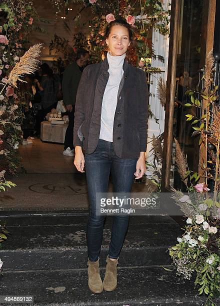 Model Christy Turlington attends the Club Monaco Flagship Store Anniversary event at Club Monaco Fifth Avenue on October 29 2015 in New York City