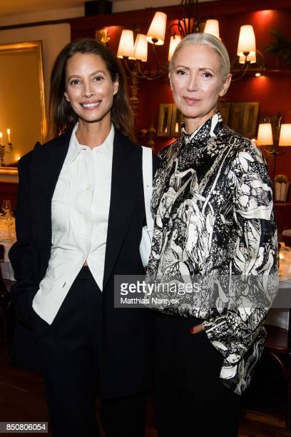 Model Christy Turlington Burns and Christiane Arp chief editor of Vogue Germany attend a special dinner at Borchardt Restaurant on September 21 2017...