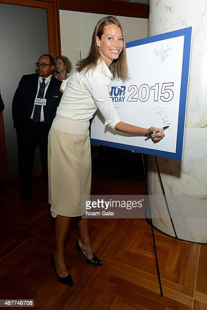 Model Christy Turlington Burns attends the annual Charity Day hosted by Cantor Fitzgerald and BGC at Cantor Fitzgerald on September 11 2015 in New...