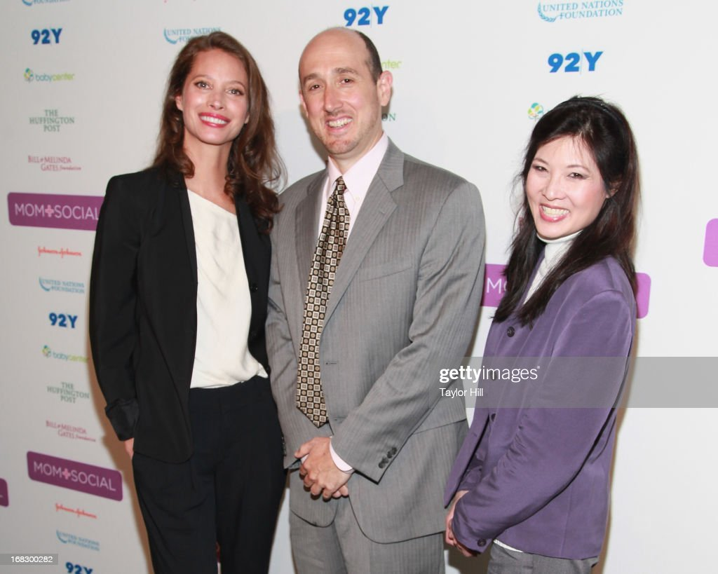 Model Christy Turlington Burns, USAID official Ariel Pablos-Menendez, and 'Half the Sky' author Sheryl WuDunn attend the Mom + Social Event at the 92Y Tribeca on May 8, 2013 in New York City.