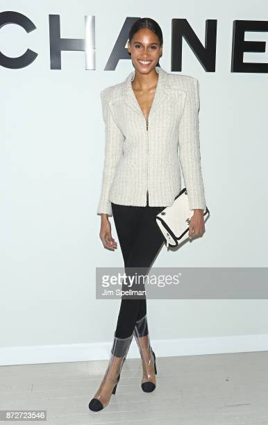 Model Cindy Bruna attends the launch of The Coco Club celebrated by CHANEL at The Wing Soho on November 10 2017 in New York City