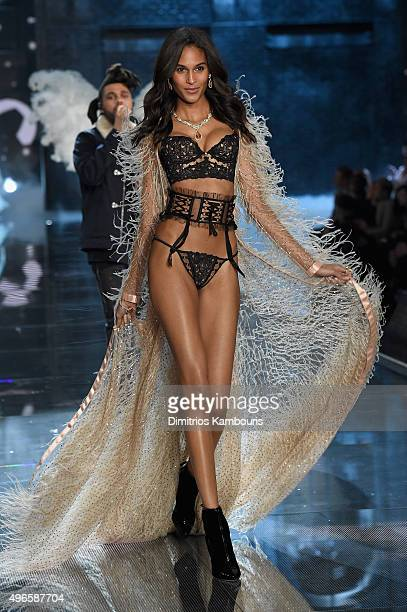 Model Cindy Bruna from France walks the runway during the 2015 Victoria's Secret Fashion Show at Lexington Avenue Armory on November 10 2015 in New...