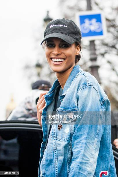 Model Cindy Bruna is seen in the streets of Paris after the Elie Saab show during Paris Fashion Week Womenswear Fall/Winter 2017/2018 on March 4 2017...