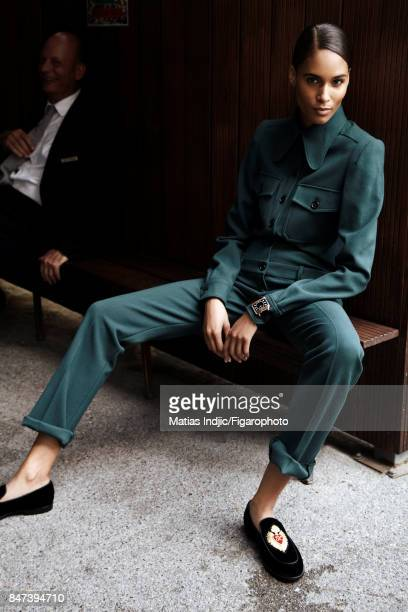 Model Cindy Bruna poses for Madame Figaro on June 2 2017 in Paris France Suit New Retro watch slippers PUBLISHED IMAGE CREDIT MUST READ Matias...