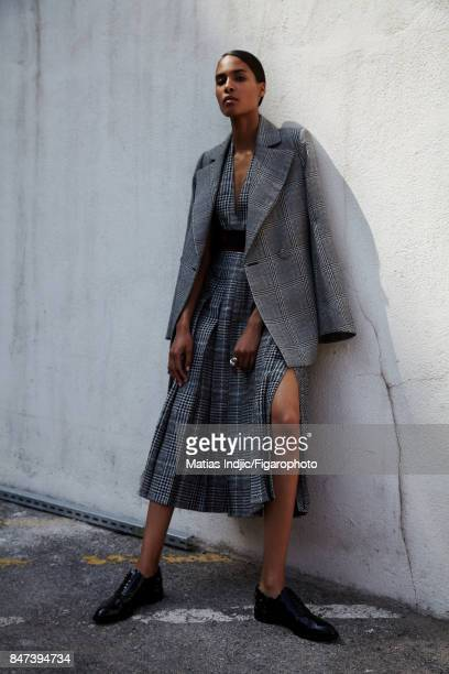 Model Cindy Bruna poses for Madame Figaro on June 2 2017 in Paris France Jacket dress Allegra Toi et Moi ring shoes PUBLISHED IMAGE CREDIT MUST READ...