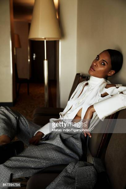 Model Cindy Bruna poses for Madame Figaro on June 2 2017 in Paris France Shirt and pants Allegra Toi et Moi ring shoes PUBLISHED IMAGE CREDIT MUST...