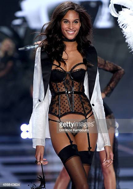 Model Cindy Bruna walks the runway during the 2014 Victoria's Secret Fashion Show at Earl's Court Exhibition Centre on December 2 2014 in London...