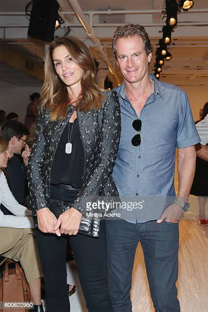 Model Cindy Crawford and businessman Rande Gerber attend Brock Collection fashion show during MADE Fashion Week September 2016 at Milk Studios on...