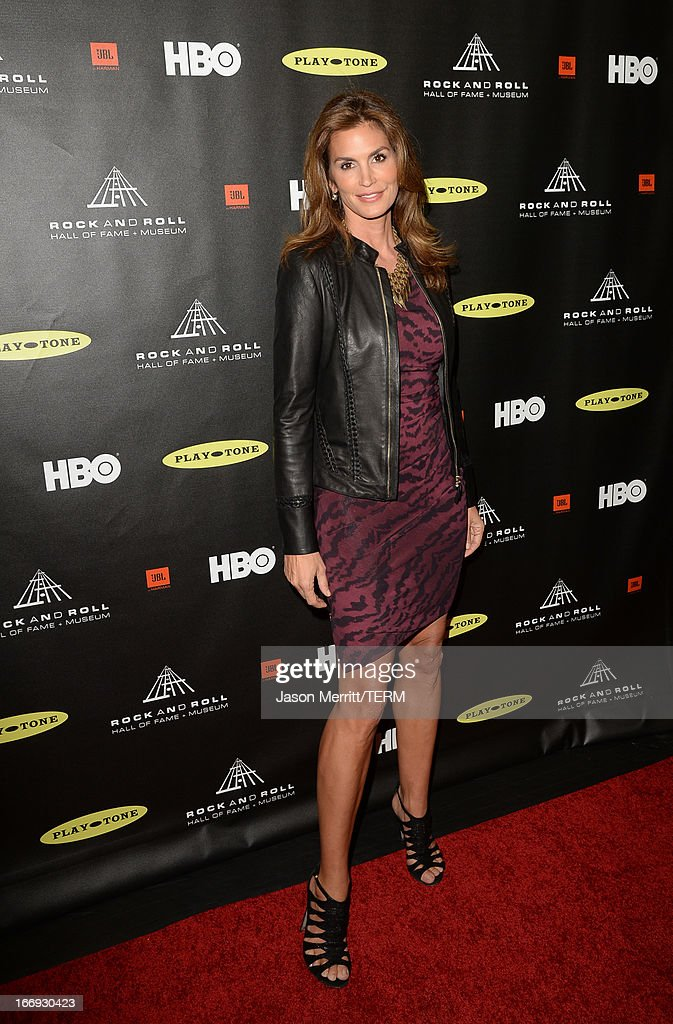 Model Cindy Crawford arrives at the 28th Annual Rock and Roll Hall of Fame Induction Ceremony at Nokia Theatre L.A. Live on April 18, 2013 in Los Angeles, California.