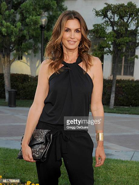 Model Cindy Crawford arrives at the Los Angeles premiere of 'Return To Zero' at Paramount Theater on the Paramount Studios lot on May 1 2014 in...